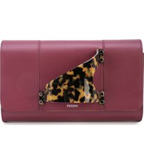 perrin paris tortoiseshell handle clutch - red