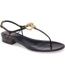 women's valentino garavani vlogo thong sandal, size 7us - black