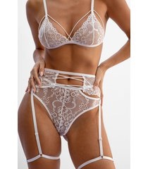 womens lace be naughty 3-pc strappy lingerie set - white