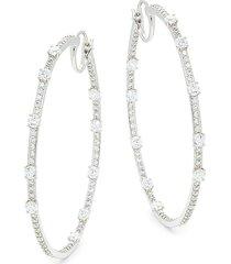 adriana orsini women's rhodium-plated & crystal hoop earrings