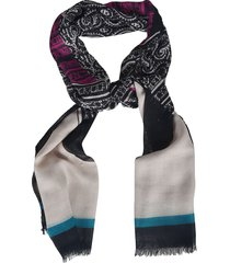 etro printed fringed edge scarf