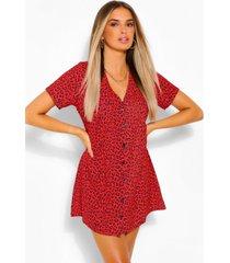 luipaardprint jurk met knopen, rood