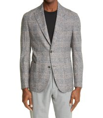 men's eleventy plaid wool & silk blend sport coat, size 44 us - grey