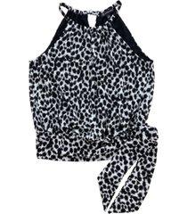 inc petite animal-print side-tie halter top, created for macy's