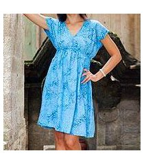 batik rayon dress, 'blue buleleng jasmine' (indonesia)