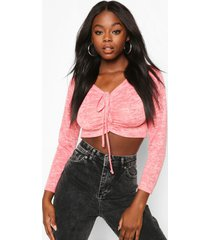 burnout ruched tie front top, pink