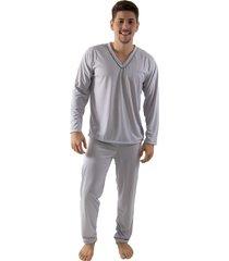 pijama linha noite longo cinza