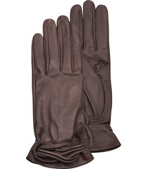 forzieri designer women's gloves, women's brown leather gloves w/knot