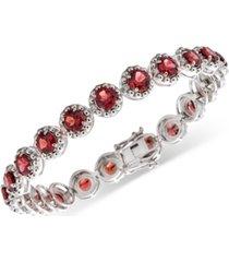 amethyst (11 ct. t.w.) & diamond (1/10 ct. t.w.) link bracelet in sterling silver (also in blue topaz, rhodolite garnet, & multi-gemstone)