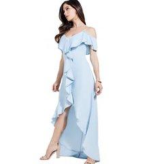 vestido tencel maxi dress celeste guess