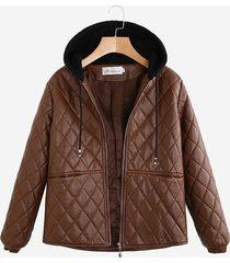 giacca a maniche lunghe con cappuccio in pelle patchwork