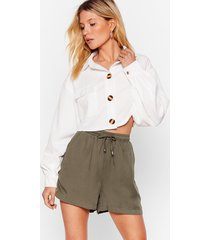 womens give us a tie high-waisted shorts - khaki