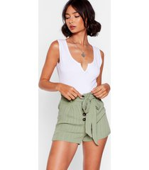 womens give us a tie high-waisted shorts - khaki