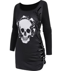skull graphic cutout braided casual t shirt