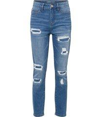 jeans cropped super skinny in cotone biologico con zone sdrucite (blu) - rainbow