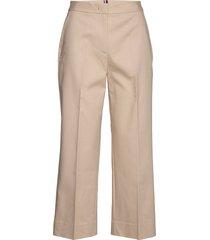 slub cotton culotte pant pantalon met rechte pijpen beige tommy hilfiger