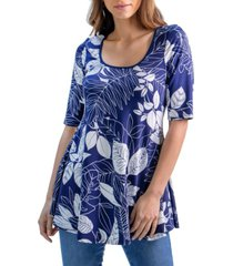 women's floral elbow sleeve flared tunic top
