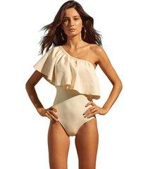 maiô mos beachwear com babado liso woman off white