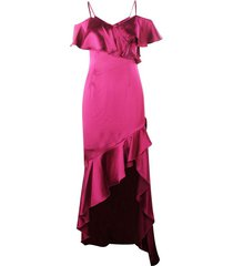 fuchsia satin maxi dress