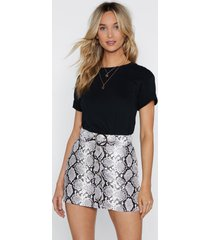 womens snake print faux leather mini skirt with buckle - grey