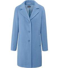 jas in eenvoudig model met paspelzakken van basler blauw