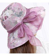 donne cappello a colore d'inchiostro fiore ampia cappello floreale per viaggio spiaggia parasole