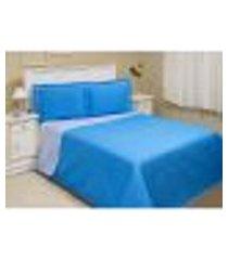 cobre leito solteiro dupla face basic durban azul turquesa e azul claro 2 peças com posta travesseiro