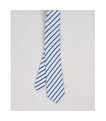 gravata masculina listrada em jacquard azul claro
