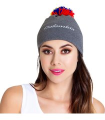 gorro colombia gris pompon tall