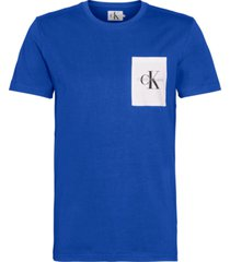 monogram pocket slim t-shirt azul calvin klein