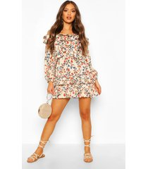 floral off shoulder ruffle detail mini dress, stone