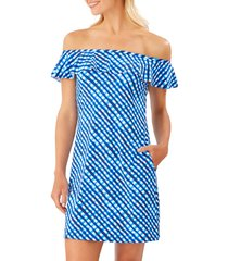 tommy bahama harbour island off the shoulder ruffle spa dress, size x-large in azure blue at nordstrom