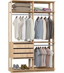 closet 3 gavetas e 3 cabideiros carvalho mel lilies móveis