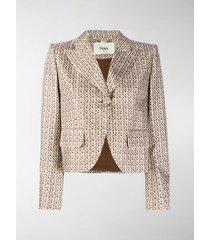 fendi karligraphy motif cropped jacket