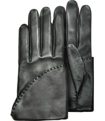 pineider designer women's gloves, women's black short nappa gloves w/ silk lining