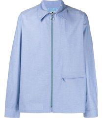 anglozine zip-up long-sleeved shirt - blue