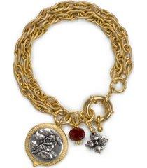 patricia nash two-tone cherub charm double-row bracelet