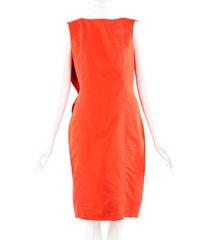 carolina herrera orange silk draped sleeveless dress orange sz: m
