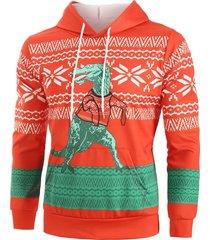 christmas cartoon dinosaur geometric print casual hoodie