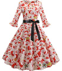 christmas santa claus flared cuffs belted dress