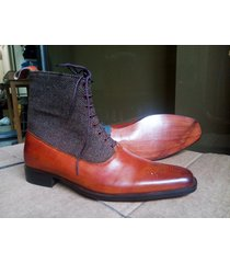 handmade ankle high leather & tweed boots, dress men's fashion boots