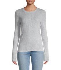 pointelle pinstripe rib-knit pullover