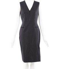 altuzarra pinstriped wool midi dress black/white sz: s