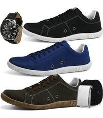 kit 3 pares de sapatãªnis casual rebento com cinto e relã³gio preto azul e cafã© - azul/cafã©/preto - masculino - lona - dafiti