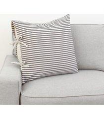 """thro polyester fill tina ticking stripe tie pillow, 22"""" x 22"""""""