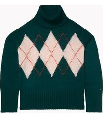 tommy hilfiger women's essential argyle turtleneck sweater forest green - xs