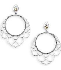"naga 18k yellow gold & sterling silver lace hoop drop earrings/1.75"""