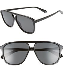 women's polaroid 58mm polarized aviator sunglasses - black/ grey polarized