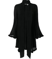 chloé crepe tie waist handkerchief dress - black