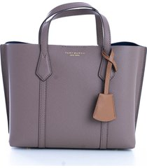 tory burch `` perry small triple-compartment tote tory burch bag in hammered leather